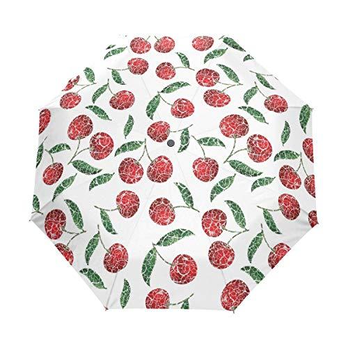 Oil Painting Of Cherry Umbrella Auto Open Close Compact Travel Umbrella - Windproof, Ergonomic Handle Windproof Travel UV Umbrella