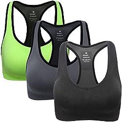 Mirity Women Racerback Sports Bras - High Impact Workout Gym Activewear Bra Color Black Grey Green Size L