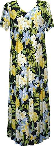 Handmade Casual Wear Dress - RJC Womens Hawaiian Jungle Flower V Neck Evening Dress Blue Orchid 1X Plus