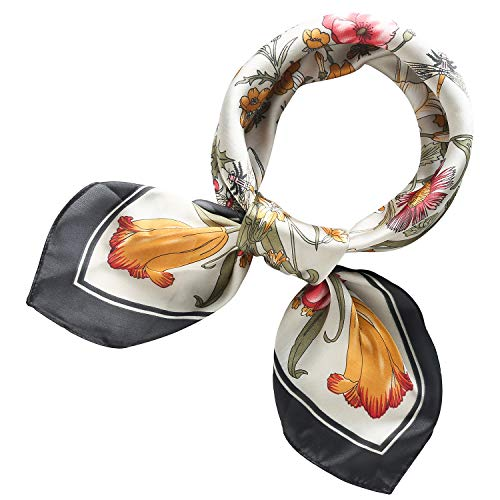 (RIIQIICHY Women's 27.20'' Silk Satin Square Floral Print Hair Head Scarf Neckerchief)