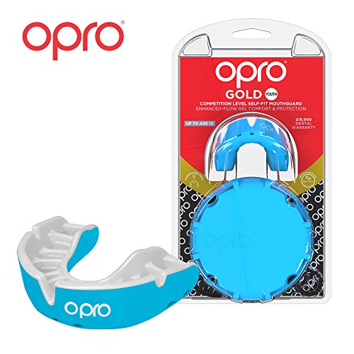 OPRO Mouthguard Custom-Fit Gold Level Gum Shield for Ball, Combat and Stick Sports - 18 Month Dental Warranty (Adult and Kids Sizes) | Sky Blue, Kids