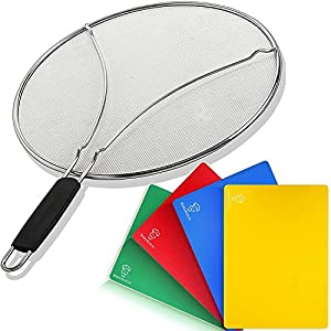Set of Splatter Screen for Frying Pan & 4 Flexible Plastic Cutting Boards - Oil Grease Splash Guard Lid for Non-Stick Cast Iron Skillet - Large Vegetable Cutting Mat for Cooking - Kitchen Set