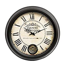 XIXIGZ Wall Clock European Retro American Wrought Iron Wall Clock Creative Artist with Living Room High-End Wall Charts Luxury Atmosphere Decorative Clocks,47Cm