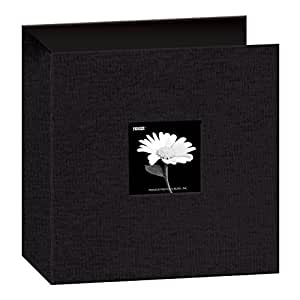 Pioneer 8 1/2 Inch by 11 Inch 3-Ring Fabric Frame Cover Memory Binder, Deep Black
