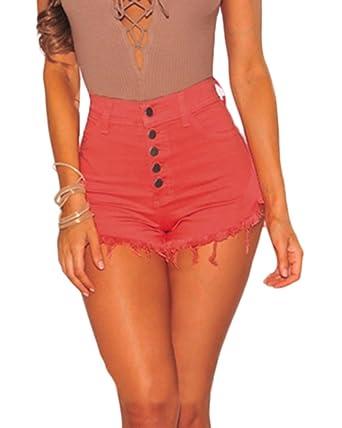 Frauen Tassel Hohe Taille Denim Shorts Hot Pants mit Taschen High Waist Jeans  Kurz Damen  Amazon.de  Bekleidung f81061e47c