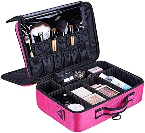 化粧品袋 大容量ポータブルメイクボックストラベルコスメティックオーガナイザーのために女の子 旅行化粧収納ボックス (Color : Rose Red, Size : 35x24x15cm)