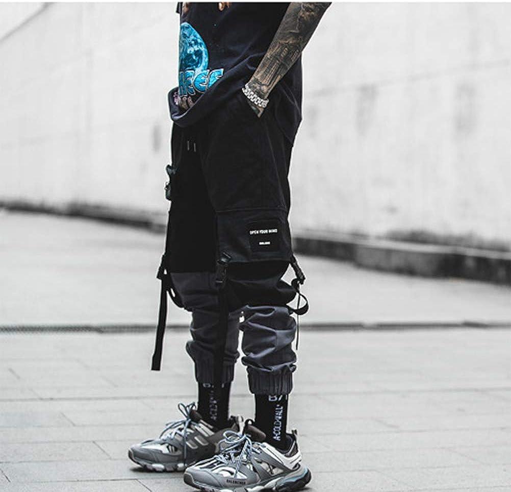 Feidaeu Pantaloni da Uomo Streetwear Pantaloni Harajuku Multi-Tasche Decorare Pantaloni da Uomo Hip Hop di Colore con Cuciture Elastiche Colorate