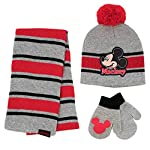 Mickey Mouse Boys Toddler Scarf, Hat and Mitten Set, Grey/Red, Age 2-4