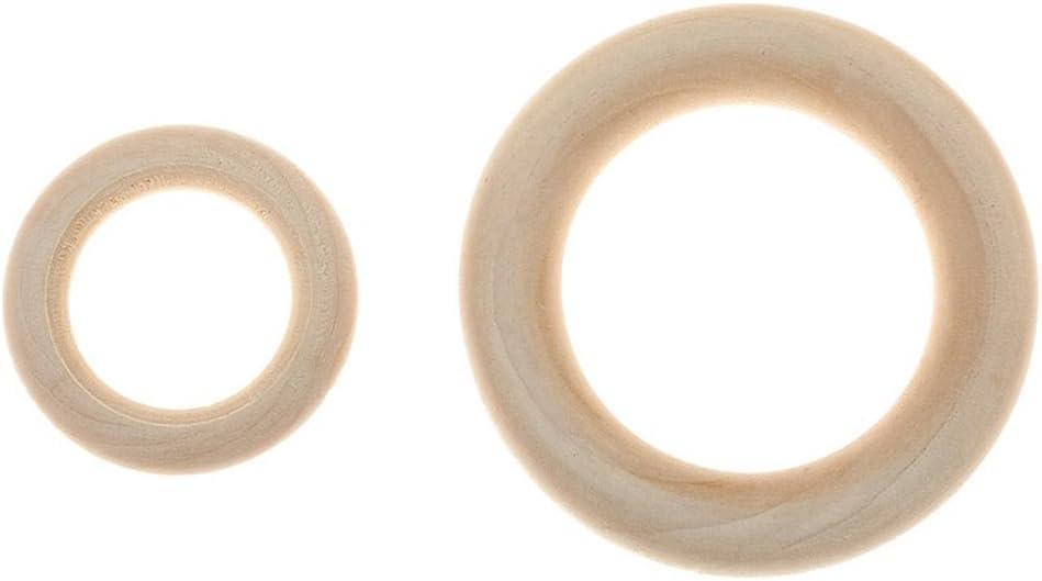 VORCOOL 50 St/ück DIY Schmuck Machen Naturholz Ringe Bei/ßring 5,5 cm Holz Durchmesser