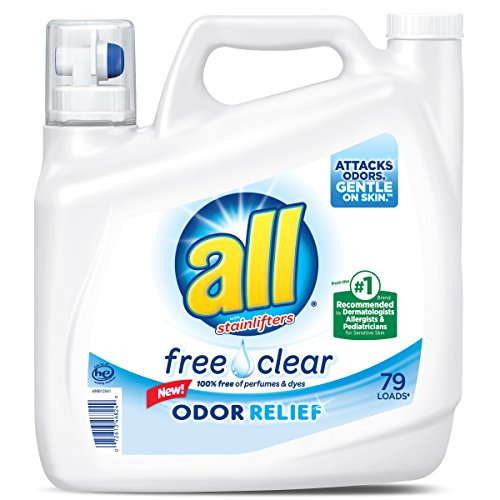 - all Liquid Laundry Detergent, Free Clear with Odor Relief, 141 Fluid Ounces, 79 Loads