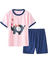 Young Girls Pajama Cute Cat Pattern Nighty Comfy Shorts Cotton Sleepwear