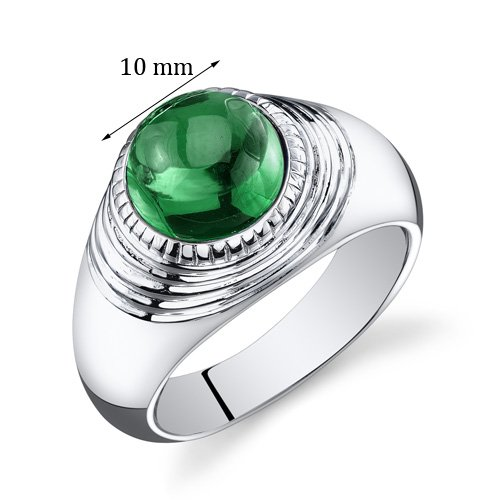 Mens 5.50 Carats Simulated Emerald Ring Sterling Silver Rhodium Nickel Finish Size 11 by Peora (Image #2)