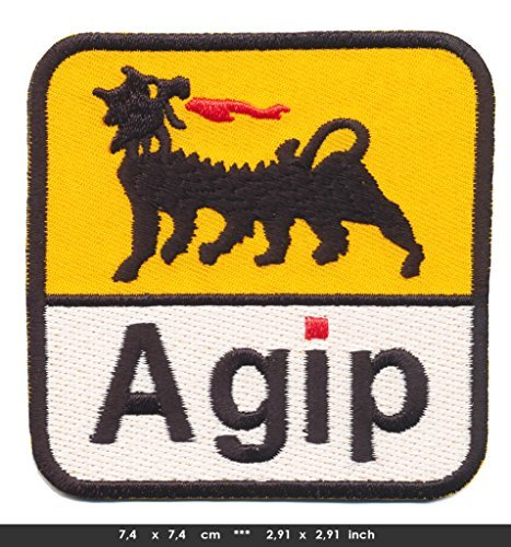 agip-iron-sew-on-cotton-patch-racing-motor-sports-oil-formula-1-f1-yellow-white-by-patchmaniac