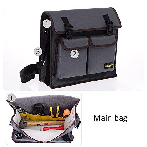 Abbey Messenger - Multifunction Tool Bag Waterproof Oxford Cloth Single Shoulder Messenger Bag Hardware Repair Electrician Toolkit Bag Large