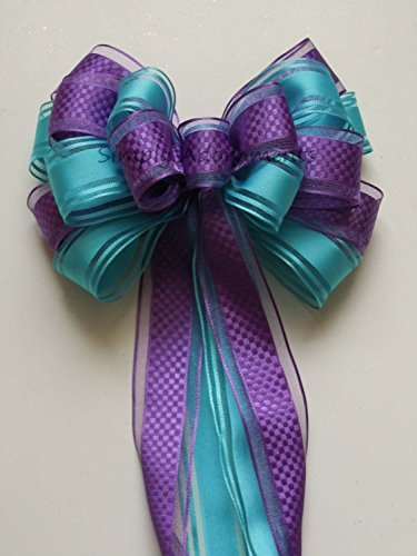 - Purple Blue Peacock Wedding Pew Bow Aqua Blue Orchid Party Decoration Bow Bridal Shower Decoration Bows Frozen Gift Bows