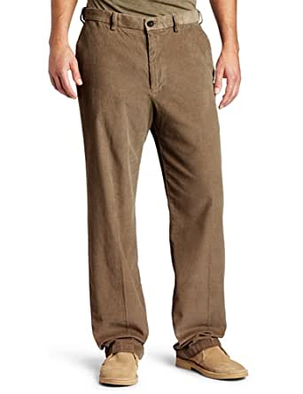 Haggar Mens Work To Weekend Hidden Expandable Waist Corduroy Plain Front Pant, Khaki,32x30
