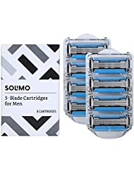 Solimo 5-Blade Razor Refills for Men with Dual Lubrication and Precision Beard Trimmer, 8 Cartridges (Fits Solimo Razor Handles only)