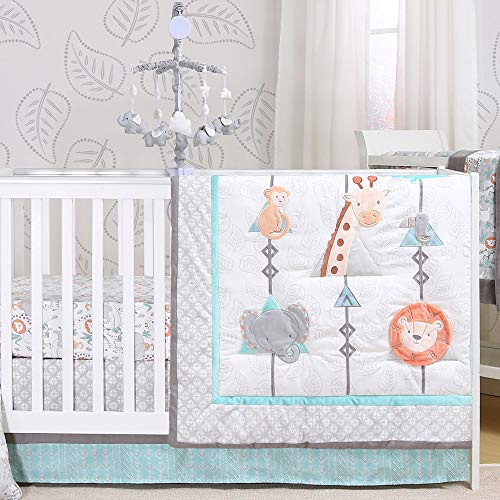 (Safari Adventure 5 Piece Jungle Animal Theme Baby Crib Bedding Set )