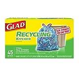 Glad Recycling Tall Drawstring Kitchen Blue Trash Bags - 13 Gallon - 45