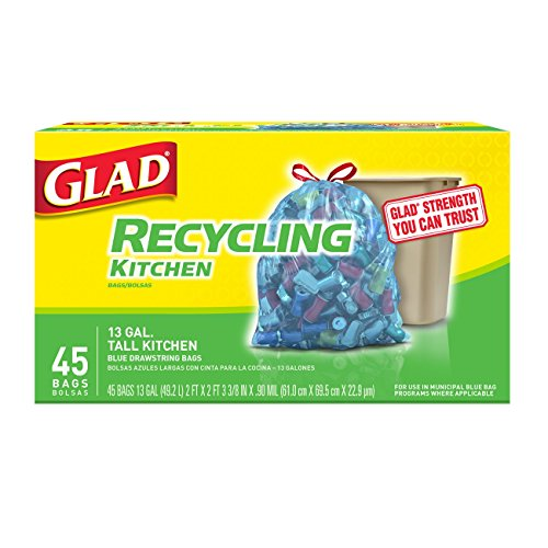 Glad Recycling Tall Drawstring Kitchen Blue Trash Bags - 13 Gallon - 45 Count (Pack of 4) (Packaging May Vary)