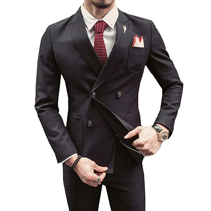 RONGKIM Men\u0027s Italian Style Suit for Wedding Double Breasted