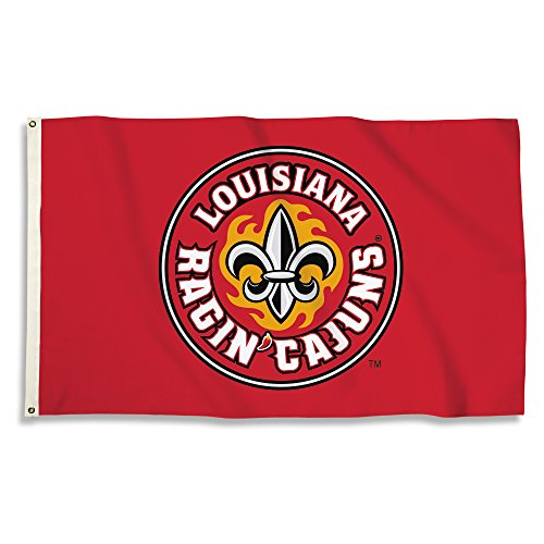 BSI NCAA Louisiana Lafayette Ragin' Cajuns Circle Logo Flag with Grommets, Red, 3' x 5' (Hanging Outdoor Lafayette)