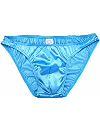 Men's Silk Bikini Briefs Underwear Pouched Swimwear Thongs Bright Color