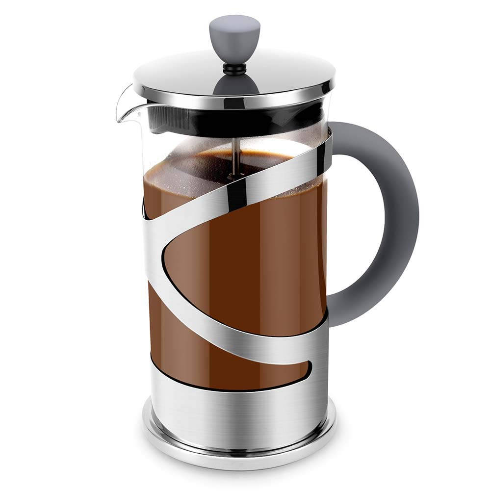 French Presses Coffee Maker – Stainless Steel Heat Resistant Borosilicate Glass Coffee Pot 34oz
