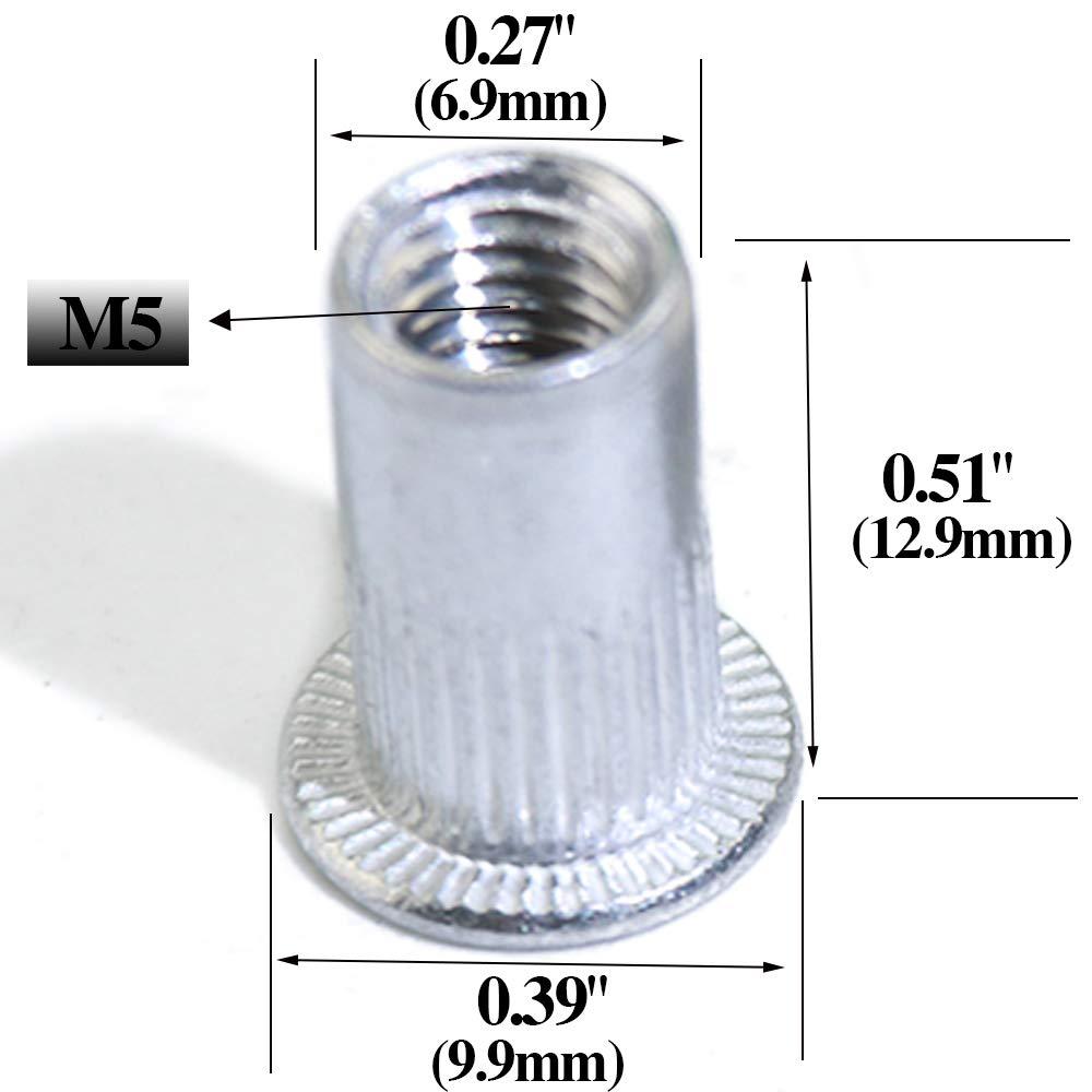 Alumium Rivnut Insert Cap Rivet Nut Boeray 190PCS M3 M4 M5 M6 M8 M10 Aluminum Alloy Flat Head Rivet Nut