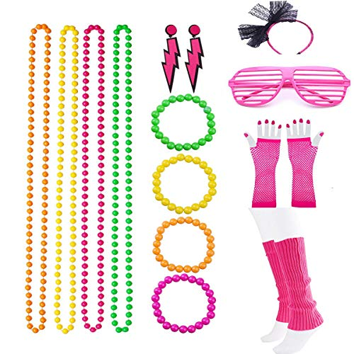 CC&SS Women's 80s Costume Accessories Set Neon Necklace Bracelet Earrings Fishnet Gloves Leg Warmers shutters Glasses for Party Cloth Accessory, Pink, Universal -