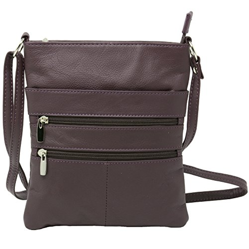 Genuine Leather Organizer Purse Mini Handbag Travel Bag Zippered Shoulder Purse by Value on Style