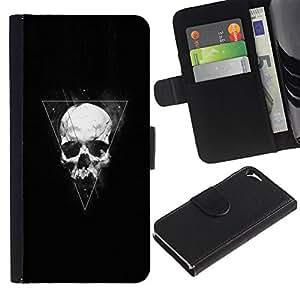 LECELL--Cuero de la tarjeta la carpeta del tirón Smartphone Slots Protección Holder For Apple Iphone 5 / 5S -- Triángulo Geometría cráneo --