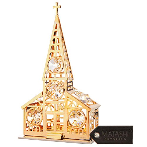 High Polish Prayer Box Charm (24K Gold Plated Church Ornament Made with Genuine Matashi Crystals)