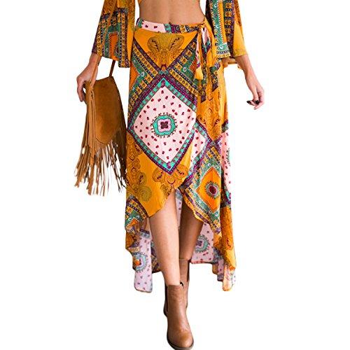 Faible Haute Wrap Dress Yellow Imprimer Maxi Long Femmes Floral FVDVRGEA Tie Bohme Split Haute Taille qYItX