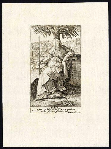 Antique Religious Print-OLD TESTAMENT-DEBORAH-PROPHET-JUDGES-Galle-Spanoghe-1784]()