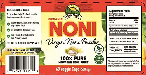 Virgin Noni Powder – 100 Pure Noni Powder Capsules, Certified Organic – Pack of 4 Bottles