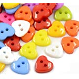 Pacco 50+ Misto Acrilico 12mm Bottoni Cuore (2 Fori) - (HA07215) - Charming Beads
