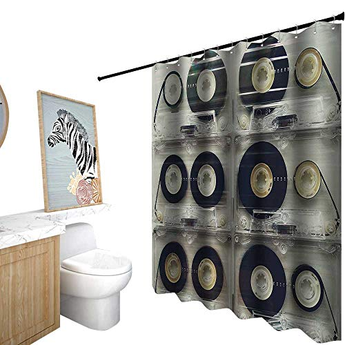StarsART Shower Curtains Black and tan,90S Decorations,Picture of Six Audio Cassettes for Recorder Retro Vintage Old Time Popular Technology,Shower Curtain for Kids,W72 x L96,Black