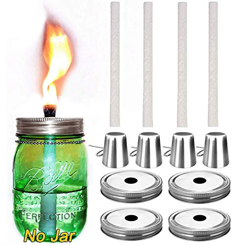 Mason Jar Tabletop Torch Kits,4 Pack Regular Mouth Lids,4 Long Life Torch Wicks and Caps Included,Oil Fuel Lamps for Patio Table Top Torch Lantern(No Jar) -