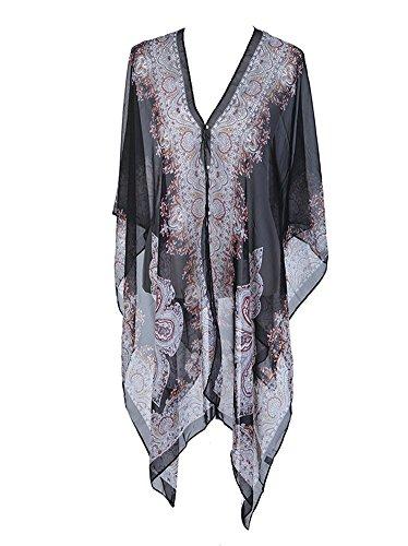 for Her Women's Summer Paisley Print Chiffon Top Cover up Beachwear Cardigan Sunscreen Shawl