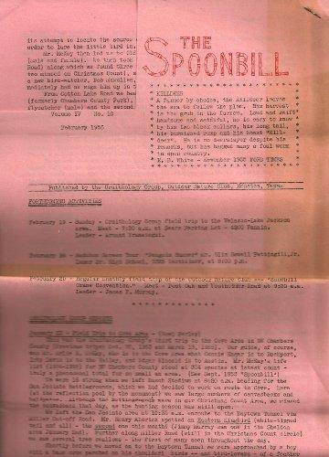 THE SPOONBILL,ORNITHOLOGY GROUP, HOUSTON, VOLUME IV, N° 10 , FEBRUARY 1956 (Club Outdoor Houston)