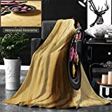 Ralahome Unique Custom Double Sides Print Flannel Blankets Light Bamboo Parquet Floor With Thai Ornaments Super Soft Blanketry for Bed Couch, Throw Blanket 60 x 40 Inches