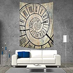 Anhuthree Clock Wall Hanging Tapestries A Roman Digit Time Spiral on The Vintage Textured Background Design Passing of Time Print Large tablecloths 57W x 74L INCH Sepia