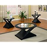 Coaster Contemporary Black Round Three Piece Round Occasional Table Set
