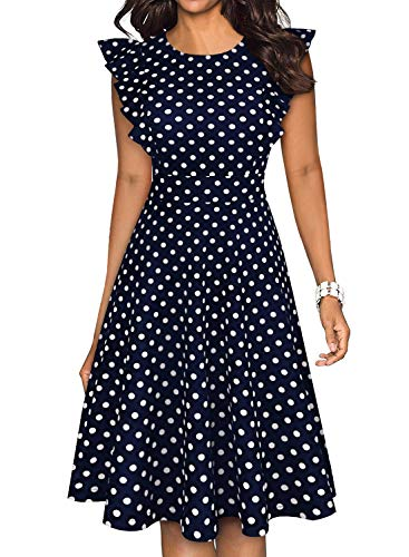 - YATHON Work Dresses for Women Vintage Polka Dot Navy Blue O Neck Knee-Length Ruffle Fit and Flare Summer Party A Line Swing Casual Dresses (S, YT001-Navy Dot)