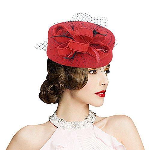Lawliet Gem Womens Dress Fascinator Headband Wool Pillbox Hat Party Wedding A067