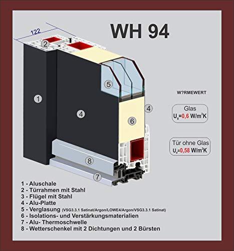 Haust/ür Welthaus WH94 RC2 Premiumt/ür Aluminium mit Kunststoff LA211 T/ür 1000x2000mm DIN Rechts Farbe aussen wei/ß Innen wei/ß au/ßengriff BGR1400 innendrucker M45 Zylinder 5 Schl/ü/ßel