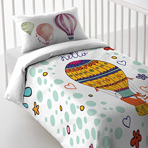 Luna Style Baby Boy Girl Crib Printed 3pc Bedding Set with Duvet Cover,Comforter and Pillowcase - Natural Soft Cotton Bedsheets -Cute Sweet Hot Air Balloon for Kids Toddler - Made in Spain from Luna Style