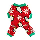 Fitwarm Cute Penguin Xmas Pet Clothes for Dog Pajamas Soft Christmas PJS, Red, Medium