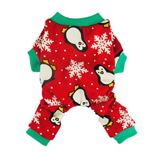 Fitwarm Cute Penguin Xmas Pet Clothes for Dog Pajamas Soft Christmas PJS, Red, Large